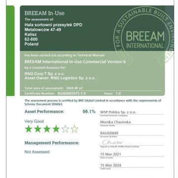 Certyfikat BREEAM dla naszej realizacji DPD w Kaliszu