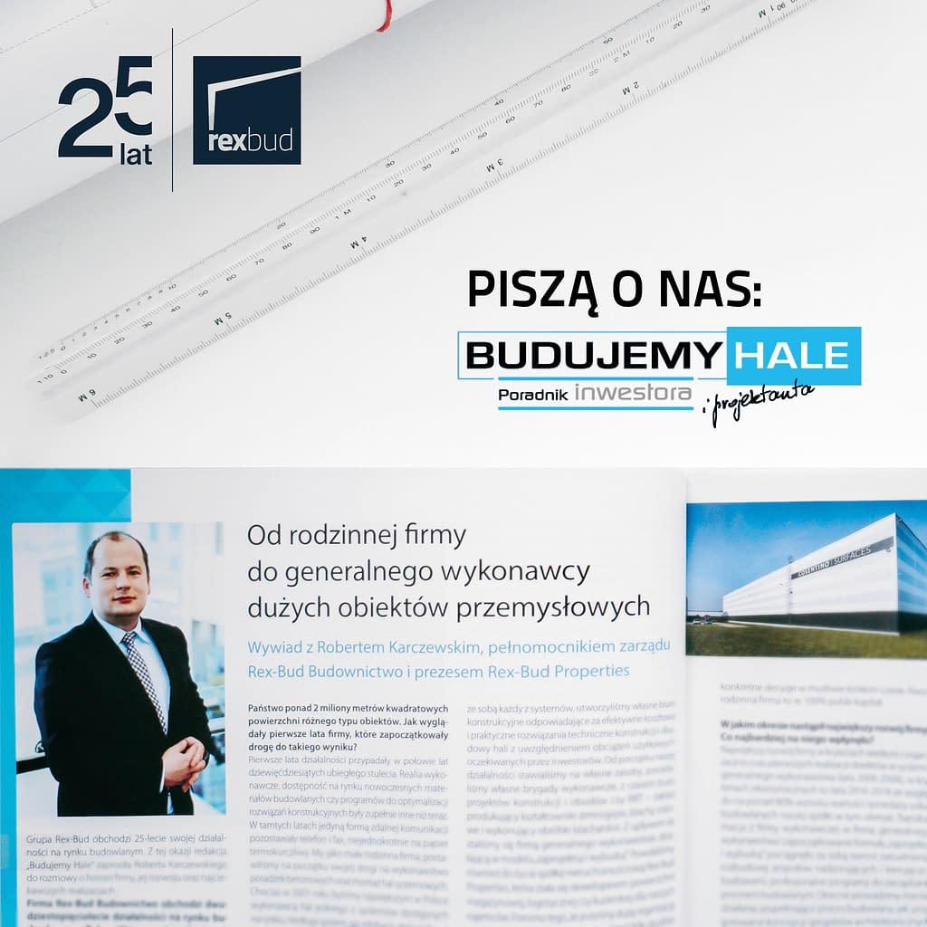 Generalny Wykonawca hal stalowych w Polsce - Rex-Bud Budownictwo - piszą o nas budujemy hale