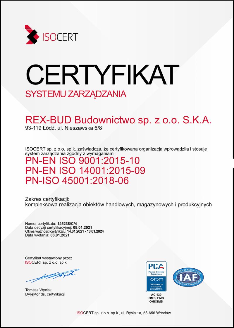 Certyfikat ISOCERT 2021